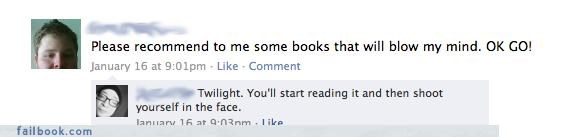 books,killing yourself,please go die,recommendations,twilight
