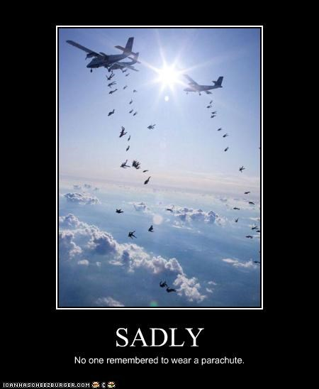 fall,jets,oh no,parachute,paratroopers,planes,Sad,sky