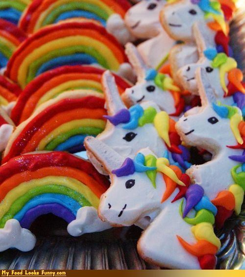 cookies,rainbow cookies,rainbows,Sweet Treats,unicorn cookies,unicorns