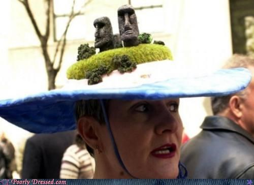 easter island,hat,heads,statue,weird