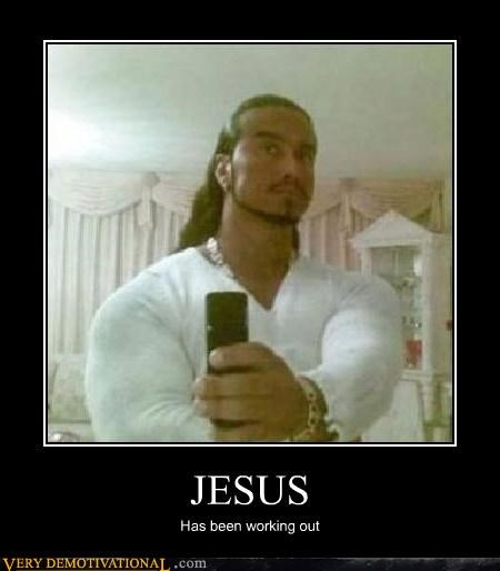 jesus,muscles,phone photo,tanning