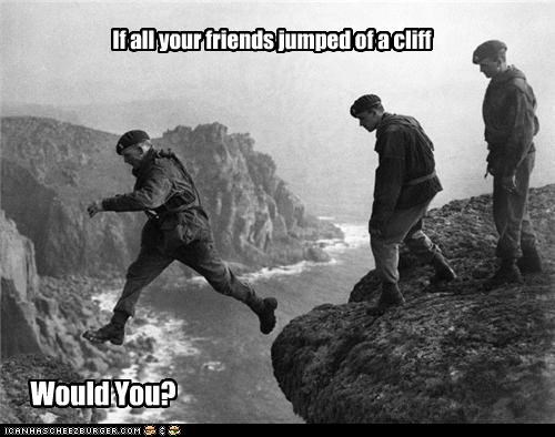 If all your friends jumped of a cliff Would You?