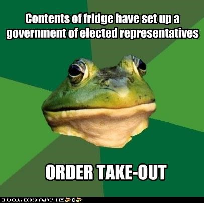 Contents of fridge have set up a government of elected representatives ORDER TAKE-OUT