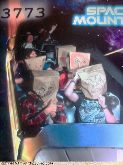 IRL paper bag rage face Space Mountain troll - 4377390848