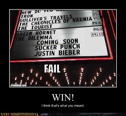 justin bieber Movie Sucker Punch theater win