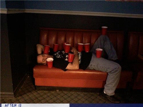 couch,cups,drunk,passed out,stacking