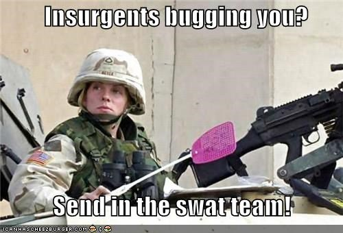 fly swatter,insurgents,military,pun,soldier,swat,swat team