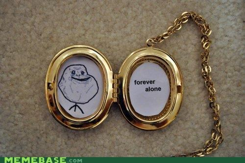forever alone locket necklace - 4378764544