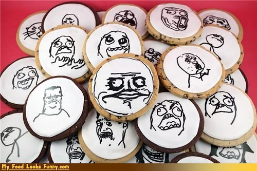 cookies faces FFFFUUUU icing me gusta Memes Rageguy Sweet Treats - 4379159552