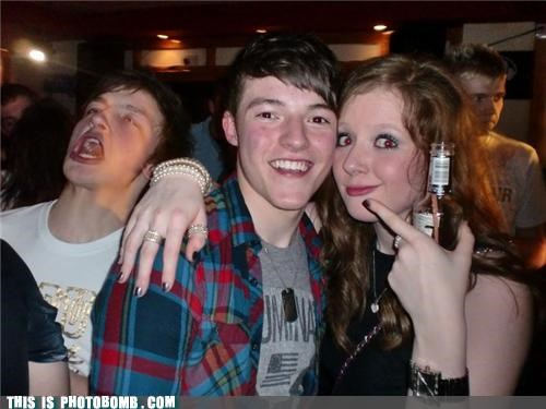 awesome face drinking Party photobomb