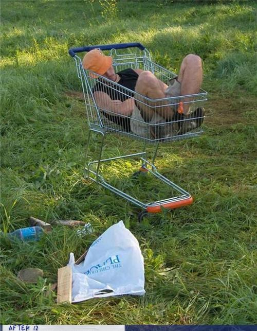 passed out,shopping cart,wtf