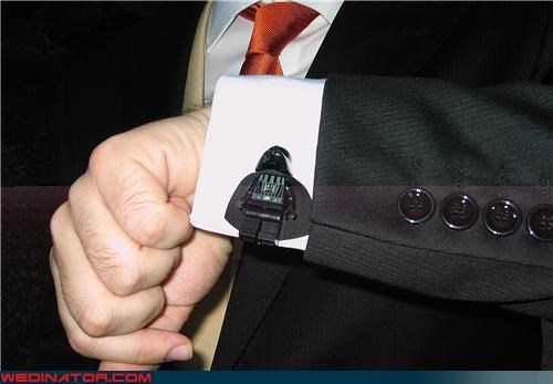 awesome groom cufflinks,custom cufflinks,custom wedding cufflinks,darth vader cufflinks,fashion is my passion,funny wedding photos,groom,star wars cufflinks,surprise,themed cufflinks,Wedding Themes