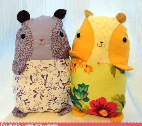 floral guine pigs handmade Plush print sewed stuffed - 4383119104