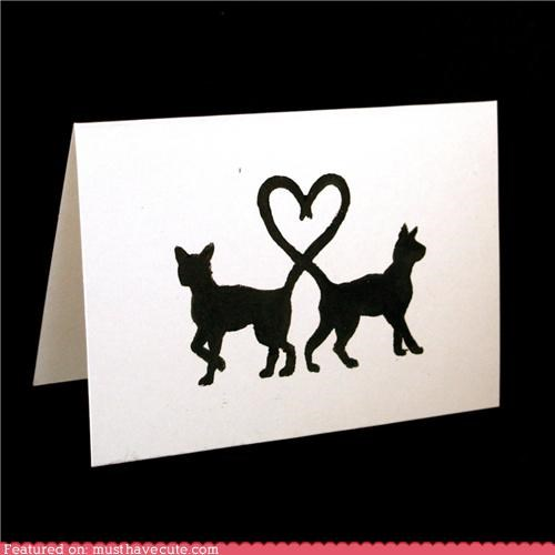 card Cats heart silhouette tails