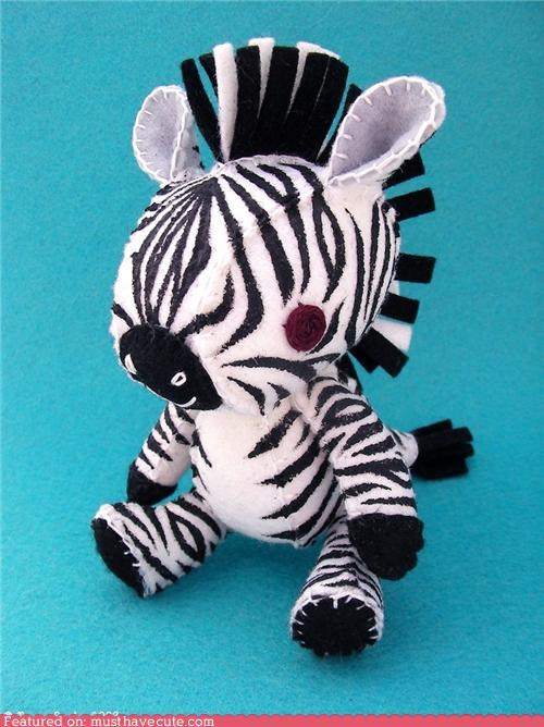 hand made mohawk Plush punk rock zebra - 4383223808