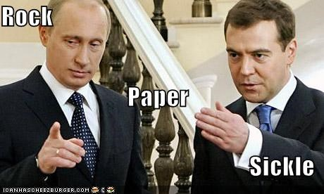 communism,Dmitry Medvedev,rock paper scissors,russia,sickle,Vladimir Putin,vladurday
