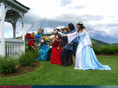 attack-the-gazebo bride Crazy Brides crazy groom dd dd-wedding-joke dd-wedding-picture Dungeons and Dragons wedding picture fashion is my passion funny wedding photos groom nerds Renaissance Faire themed wedding Renaissance Faire wedding themed wedding were-in-love wedding nerds wedding party Wedding Themes