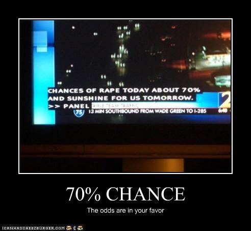 70% CHANCE The odds are in your favor