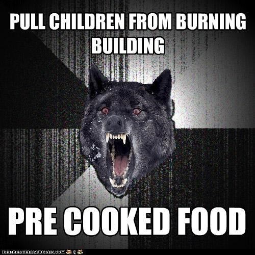 building children fire food Insanity Wolf - 4384385536