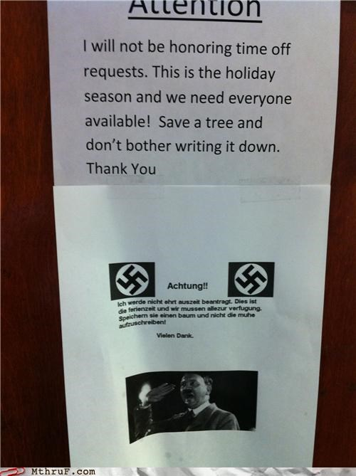 attention german nazi notice vacation - 4384825856