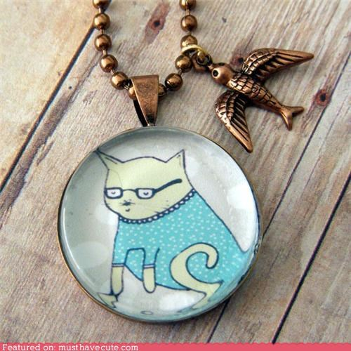 cat glasses Jewelry necklace pendant smart - 4385054464