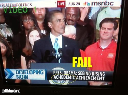 academic,captions,failboat,g rated,news,spelling,television,the president