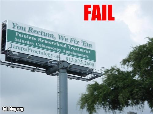 cherries Dck failboat misspelling rectum sign