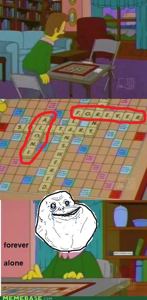 forever alone,long live maude,maude is dead,ned flanders,scrabble,the simpsons