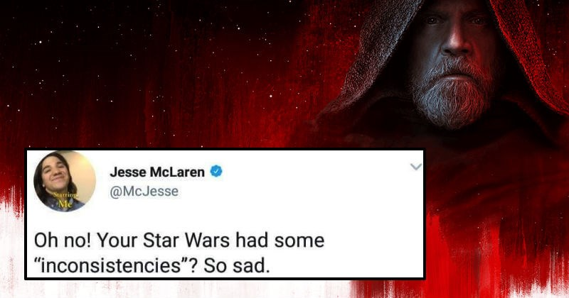 Guy goes on ridiculous Twitter rant about people not liking Star Wars: The Last Jedi movie.