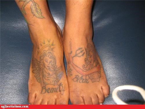 angel devil feet funny tattoos - 4387449344