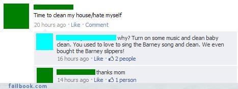 barney,cleaning,emo,hate yourself,parents,thats-embarrassing
