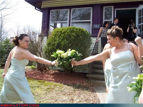 bride,bridesmaids,bridesmaids bouquets,dueling bridesmaids,fashion is my passion,funny bridesmaids picture,funny wedding photos,i-challenge-you-to-a-duel,nerdy bridesmaids,technical difficulties,wedding party