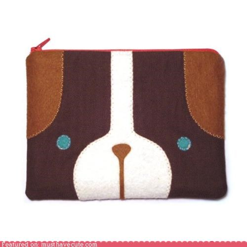 face,pouch,puppy,wallet,zipper