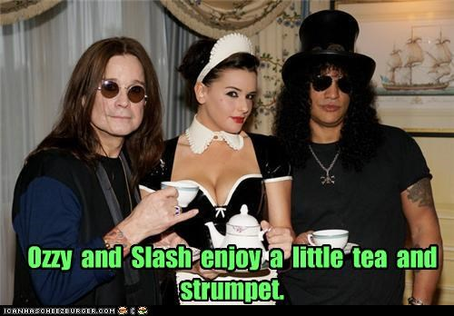 Ozzy and Slash enjoy a little tea and strumpet.