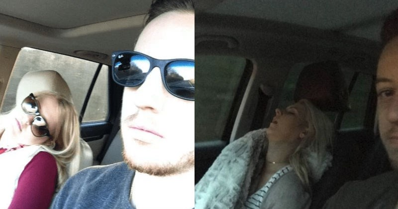 Husband photo-documents all of his road trips with his wife and the results are hilarious.