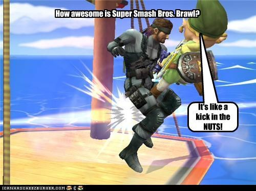 How awesome is Super Smash Bros. Brawl? It's like a kick in the NUTS!