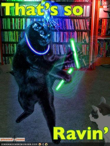 cat dancing homophone photoshop pun raven raving show television thats so raven TV tv show - 4389076992