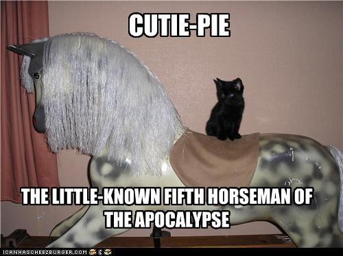 apocalypse caption captioned cat fyi horse kitten perching riding toy Unknown - 4389378048