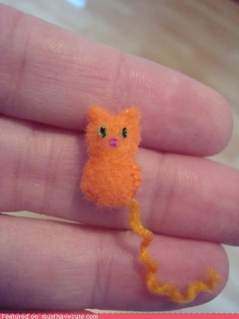 cat felt handmade kitty tiny - 4389558784