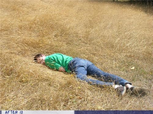 field,outdoors,passed out,uncomfortable
