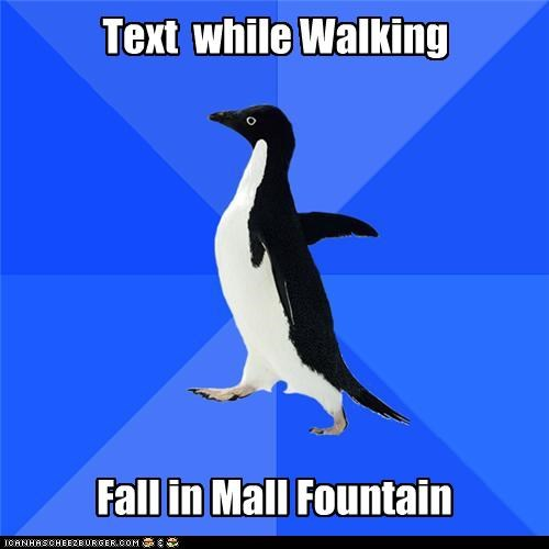 Text while Walking Fall in Mall Fountain