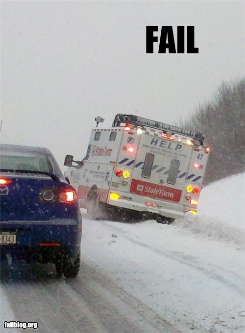 classic,driving,emergency vehicle,failboat,g rated,help,road,snow