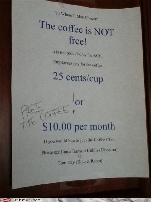 coffee coffee club note signs wtf - 4391175936