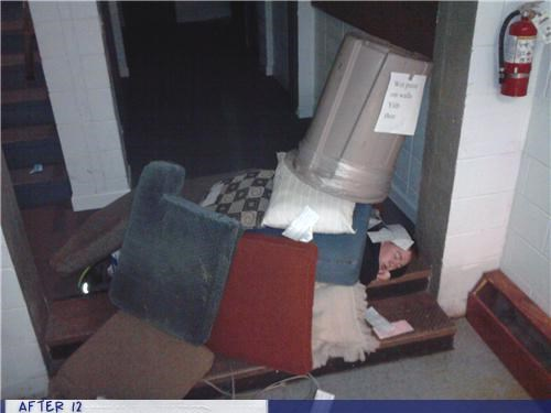 comfort,passed out,pillows,stacking,trash can