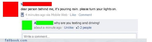 bad idea,driving,lights on,raining,texting