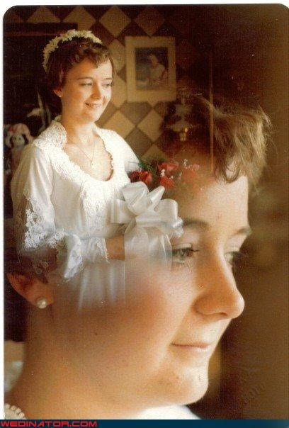 70s bride,awkward bride photos,bride,bride duplicate,bride on bride action,fashion is my passion,funny bride photo,funny wedding photos,nostalgic bride portrait,Olan Mills,old skool,technical difficulties