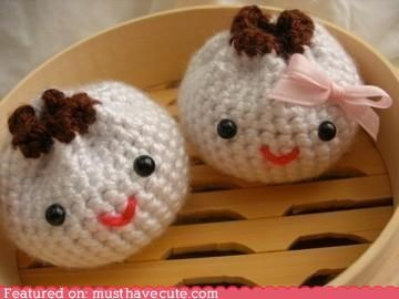 Amigurumi chinese crochet food pork buns steamed