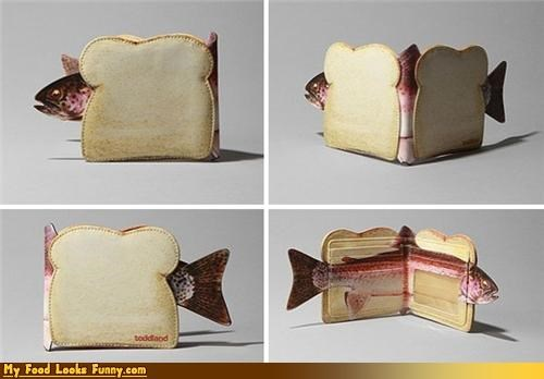 bread,fish,sandwich,wallet