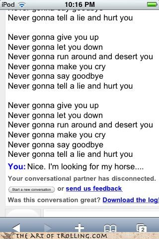 best-laid plans i own a horse Omegle rickroll troll vs troll - 4391892224