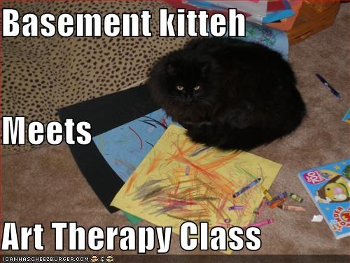 art,art therapy,basement cat,caption,captioned,cat,class,coloring,displeased,do not want,lesson,meeting,therapy